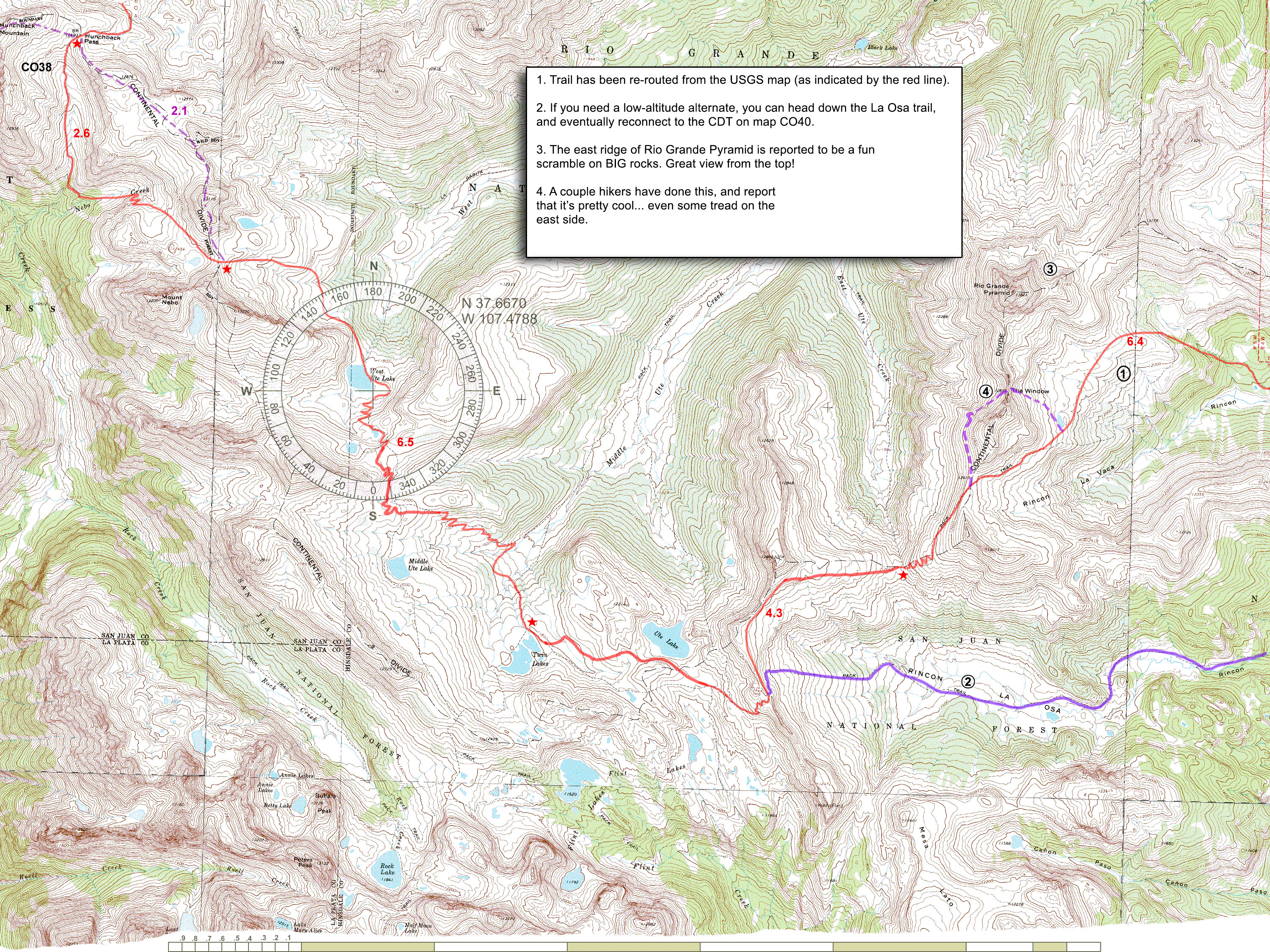 CDT Maps Montana Usa Map With Compas Rose on